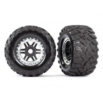 Tires & wheels, assembled, glued (black, satin chrome beadlock style wheels, Maxx? MT tires, foam inserts) (2) (17mm splined) (TSM? rated)