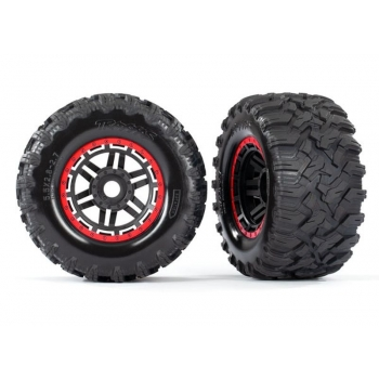 Tires & wheels, assembled, glued (black, red beadlock style wheels, Maxx? MT tires, foam inserts) (2) (17mm splined) (TSM? rated)