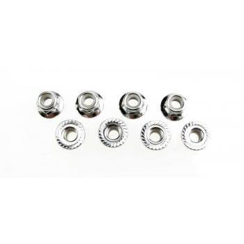 Nuts, 5mm flanged nylon locking (steel, serrated) (8)