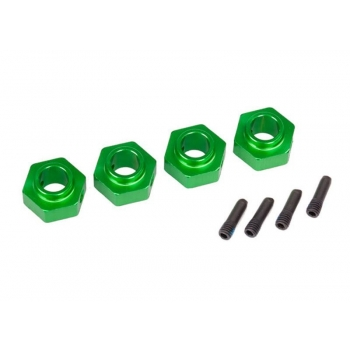 Wheel hubs, 12mm hex, 6061-T6 aluminum (green-anodized) (4)/ screw pin (4)