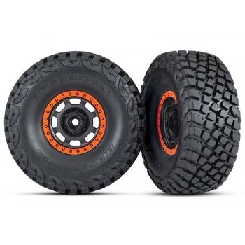 Tires and wheels, assembled, glued (Desert Racer? wheels, black with orange beadlock, BFGoodrich? Baja KR3 tires) (2)