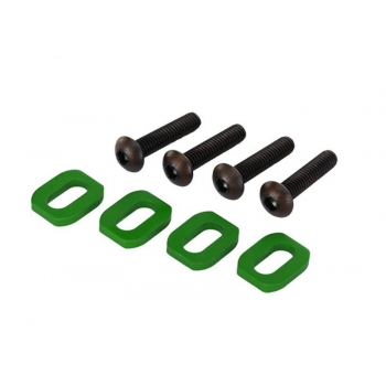 Washers, motor mount, aluminum (green-anodized) (4)/ 4x18mm BCS (4)