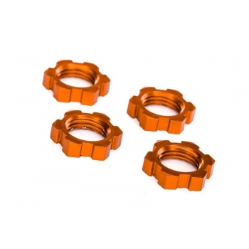 wheels-Nuts, splined, 17mm, serrated (Orange-Anodized) (4)