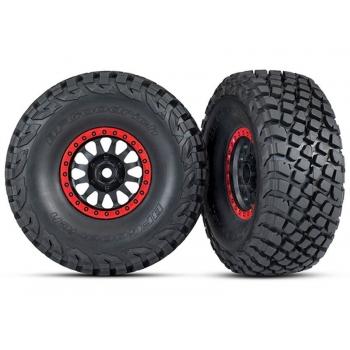 Tires and wheels, assembled, glued (Method Race Wheels, black with red beadlock, BFGoodrich? Baja KR3 tires) (2)