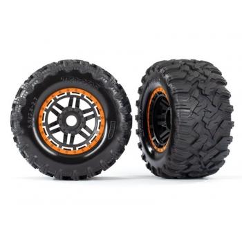 Tires & wheels, assembled, glued (black, orange beadlock style wheels, Maxx? MT tires, foam inserts) (2) (17mm splined) (TSM? rated)