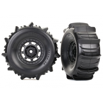 Tires and wheels, assembled, glued (Desert Racer? wheels, paddle tires, foam inserts) (2)