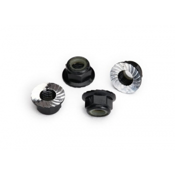 Nylock nut with flanged 5mm Alu, serrated, Black (4)