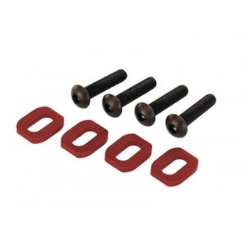 Washers, motor mount, aluminum (red-anodized) (4)/ 4x18mm BCS (4)