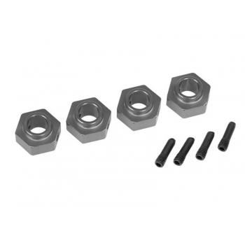 Wheel hubs, 12mm hex, 6061-T6 aluminum (charcoal gray-anodized) (4)/ screw pin (4)
