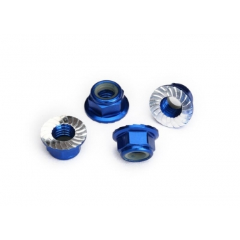 Nylock nut with flanged 5mm Alu, serrated, Blue (4)