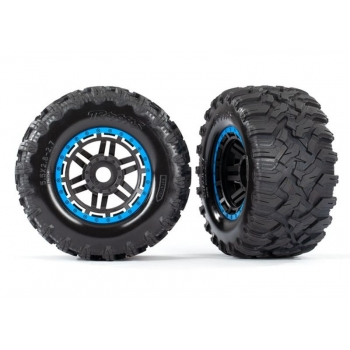 Tires & wheels, assembled, glued (black, blue beadlock style wheels, Maxx? MT tires, foam inserts) (2) (17mm splined) (TSM? rated)