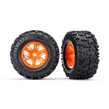 Tires & wheels, assembled, glued (X-Maxx? orange wheels, Maxx? AT tires, foam inserts) (left & right) (2)