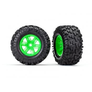 Tires & wheels, assembled, glued (X-Maxx? green wheels, Maxx? AT tires, foam inserts) (left & right) (2)