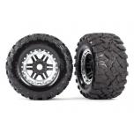 Tires & wheels, assembled, glued (black, satin chrome beadlock style wheels, Maxx® MT tires, foam inserts) (2) (17mm splined) (TSM® rated)