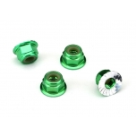 Nuts, aluminum, flanged, serrated (4mm) (green-anodized) (4)