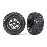 "Tires & wheels, assembled, glued (black wheels, dual profile (2.8"" outer, 3.6"" inner), Sledgehammer  tires, foam inserts) (2) (17mm splined) (TSM® rated)"