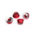 Nylock nut with flanged 5mm Alu, serrated, Red (4)