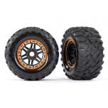 Tires & wheels, assembled, glued (black, orange beadlock style wheels, Maxx® MT tires, foam inserts) (2) (17mm splined) (TSM® rated)