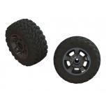 Arrma Wheels & Tires, dBoots Ragnarok Mt Tires, Black Chrome Wheels (2)