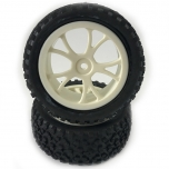 FASTRAX Cuboid 1/10th 4WD buggy tires, front, mounted on white spoked wheels 12mm hex (pair)