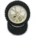 FASTRAX Cuboid 1/10th buggy tires, rear, mounted on  white spoked wheels 12 mm hex (1 pair)