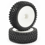 FASTRAX Cuboid 1/10th 4WD buggy tires, front, mounted on white dish wheels 12mm hex