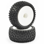 FASTRAX Cuboid 1/10th buggy tires, rear, mounted on  white dish wheels 12 mm hex