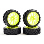 Fastrax 1/10th Street/Rally Tyre 10-spoke Yellow Wheel (4 pcs)