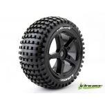 "Louise T-ROCK 1/8 scale Off Road Truggy Tires, 0"" offset, Mounted on Black Spoke Rim"