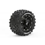 "Louise MT-UPHILL MFT 1/10 Monster Truck tire (soft) Bead-Lock 1/2"" offset, black rim (12mm hex) (2pcs)"