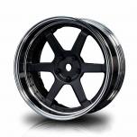 MST Drift wheels 6-spoke, matt black/silver, changable offset (4pcs)