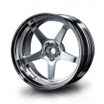 MST Drift 5-spoke GT wheels, flat silver/chrome, changable offset (4pcs)