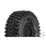 "Proline Hyrax 1.9"" G8 Rock Terrain Truck Tires Mounted on Impulse Black Plastic Internal Bead-Loc Wheels (2)"
