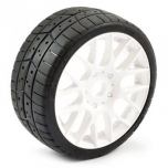 SWEEP 1/8 EXP GT tread 40deg tires glued on EVO16white wheels (pair)