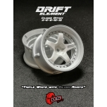 DS Racing Drift wheels, adjustable offset, triple white with silver rivets (2 pcs)