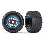 Tires & wheels, assembled, glued (black, blue beadlock style wheels, Maxx® MT tires, foam inserts) (2) (17mm splined) (TSM® rated)