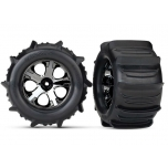 """Traxxas Tires & wheels, assembled, glued (2.8"""") (All-Star black chrome wheels, paddle tires, foam inserts) (2) (TSM rated)"""