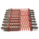 E-Maxx Big Bore shocks Alu (xx-long) (assembled) w/ red springs, TiN shafts (8 pack)