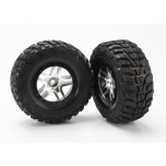 Traxxas Tires & wheels, assembled, glued (SCT Split-Spoke satin chrome, black beadlock style wheels, Kumho tires (S1 compound), foam inserts) (2) (2WD front)