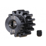 Traxxas Gear, 15-T pinion (machined) (MOD 1.0) (5mm shaft) (compatible with steel spur gears)
