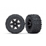 "Rustler 4X4 Tires & wheels, assembled, glued (2.8"") (RXT black wheels, Talon Extreme tires, foam inserts) (2) (TSM rated)"