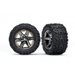 "Rustler 4X4 Tires & wheels, assembled, glued (2.8"") (RXT black chrome wheels, Talon Extreme tires, foam inserts) (2) (TSM rated)"