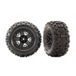 "Traxxas Tires & wheels, assembled, glued (black 2.8"" wheels, Sledgehammer™ tires, foam inserts) (2) (TSM® rated)"