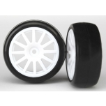 LaTrax Rally tyre glued on white spoke wheel (2)
