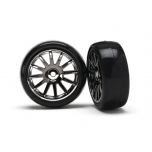 LaTrax Rally Tires glued on 12-spoke black chrome wheels (2)