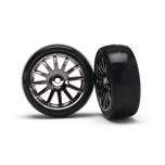 LaTrax Rally Tires glued on 12-spoke black chrome wheels (2)