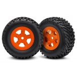 Tires and wheels, assembled, glued (SCT orange wheels, SCT off-road racing tires)(1 each, right & left)