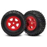 Tires and wheels, assembled, glued (SCT red wheels, SCT off-road racing tires) (1 each, right & left)