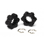 Wheel hubs, hex (2)/ hex clips (2), X-Maxx