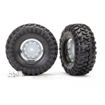 """Tires and wheels, assembled, glued (1.9"""" chrome wheels, Canyon Trail 4.6x1.9"""" tires) (2)/ center caps (2)/ decal sheet (requires #8255A extended stub axle)"""